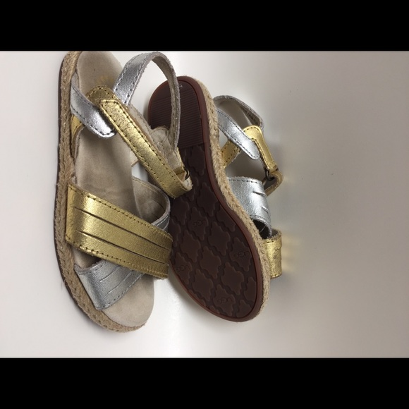854db940a57 Girls Silver and gold UGG sandals size 10